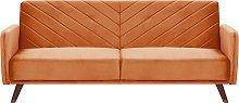Sofá cama de terciopelo naranja SENJA