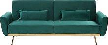 Sofá cama de terciopelo verde esmeralda EINA