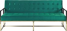 Sofá cama de terciopelo verde MARSTAL