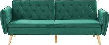 Sofá cama de terciopelo verde oscuro BARDU