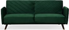 Sofá cama de terciopelo verde SENJA