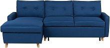 Sofá cama esquinero azul oscuro con almacenaje