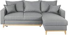 Sofá cama esquinero de 4/5 plazas gris claro
