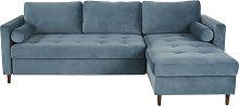 Sofá cama esquinero de 4 plazas de terciopelo azul