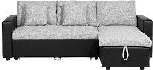 Sofá cama esquinero negro/gris, versión