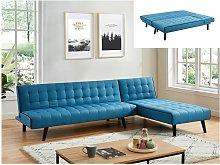 Sofá cama modular BAYOU de tela - Azul y ribete