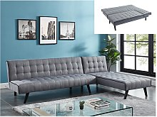 Sofá cama modular BAYOU de tela - Gris y ribete