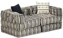 Sofá cama modular de 2 plazas de tela a rayas -