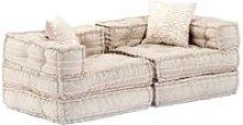 Sofá cama modular de 2 plazas de tela beige -