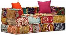 Sofá cama modular de 2 plazas de tela Patchwork -