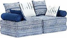 Sofá cama modular de 2 plazas tela añil - Hommoo
