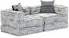 Sofa cama modular de 2 plazas tela gris claro