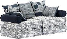 Sofá cama modular de 2 plazas tela gris - Hommoo