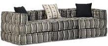 Sofá cama modular de 3 plazas de tela a rayas -