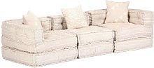 Sofá cama modular de 3 plazas de tela beige -