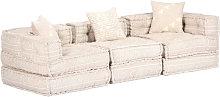 Sofa cama modular de 3 plazas de tela beige