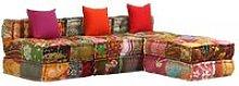 Sofá cama modular de 3 plazas de tela Patchwork -