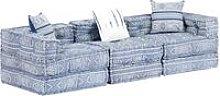 Sofá cama modular de 3 plazas tela azul - Hommoo