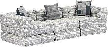 Sofá cama modular de 3 plazas tela gris claro -