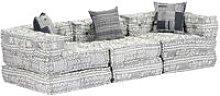 Sofa cama modular de 3 plazas tela gris claro