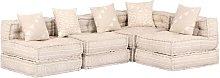 Sofá cama modular de 4 plazas de tela beige -