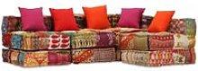 Sofá cama modular de 4 plazas de tela Patchwork -