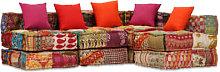 Sofa cama modular de 4 plazas de tela Patchwork