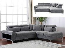 Sofá cama rinconera de tela VEZIANE - Gris -