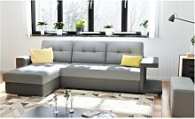 Sofá cama rinconera reversible de tela REGALIS -