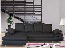 Sofá-cama rinconero de tela FELTON - Antracita -