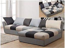 Sofá cama rinconero de tela ROMANE - Negro y gris