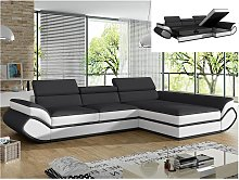 Sofá cama rinconero tapizado de piel sintética