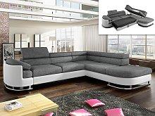 Sofá cama rinconero tapizado de tela y piel