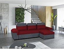 Sofá-cama rinconero y reversible de tela GABY -