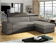 Sofá-cama rinconero y reversible VALMY de tela y