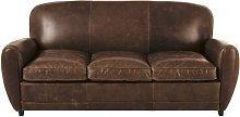 Sofá-cama vintage de 3 plazas de piel marrón