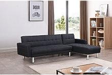 Sofá chaise-longue cama km-16040SB negro tela 3