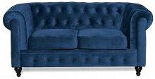 Sofa Chester 2 Plazas Velvet Azul