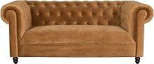 Sofá Chester de terciopelo marrón dorado