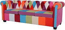 Sofá Chesterfield de Tela 3 Plazas - Multicolor -