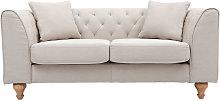 Sofá clásico tejido color natural 2 plazas