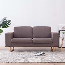 Sofá de 2 plazas de tela color gris topo - Marrón
