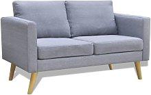 Sofá de 2 plazas de tela gris claro - Gris