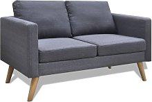 Sofá de 2 plazas de tela gris oscuro - Gris