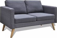 Sofá de 2 plazas de tela gris oscuro - Hommoo