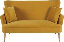 Sofá de 2 plazas de terciopelo amarillo mostaza