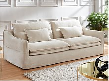 Sofá de 3 plazas ADILA de lino y algodón - Blanco