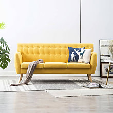 Sofá de 3 plazas con tapizado de tela 172x70x82cm