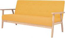 Sofá de 3 plazas de tela amarillo Vida XL