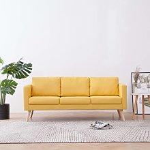 Sofa de 3 plazas de tela amarillo